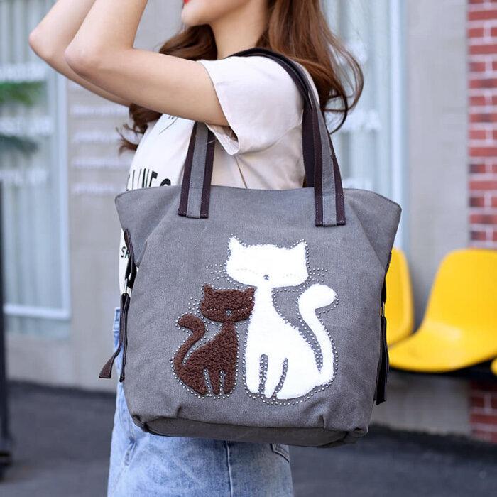 Cat-print-canvas-handbag-HB103-1