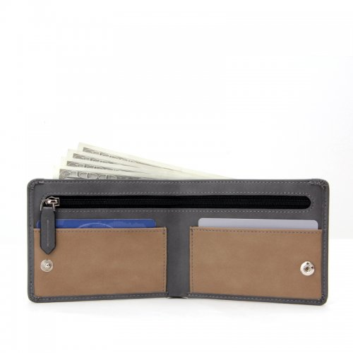 Leather-Bifold-Mens-Wallet-Money-Clip-With-Zipper-Wholesale-WL013-1