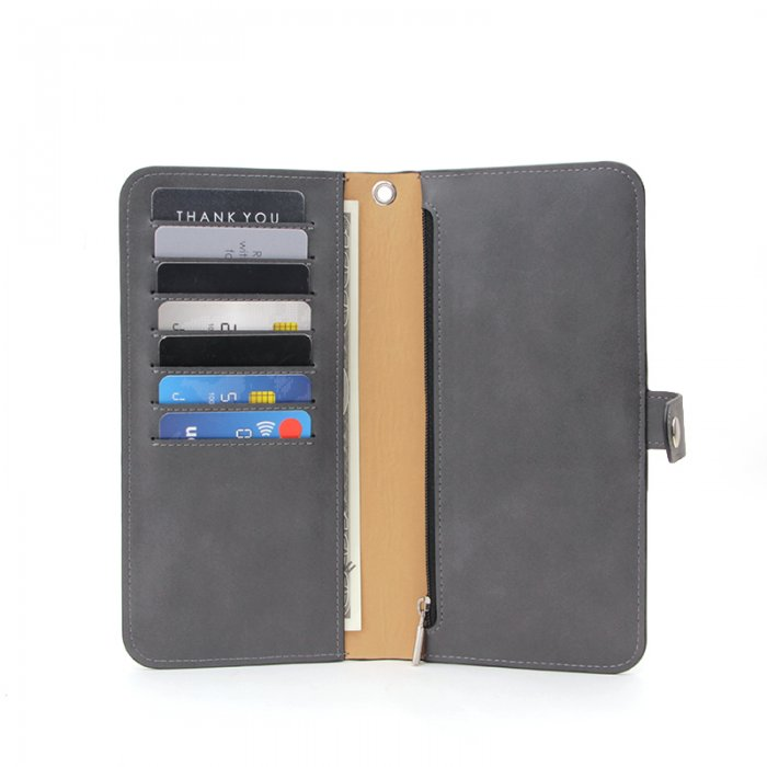 Leather-Long-Wallet-for-Men-Black-Bifold-Checkbook-Cover-Great-Gift-WL018-3