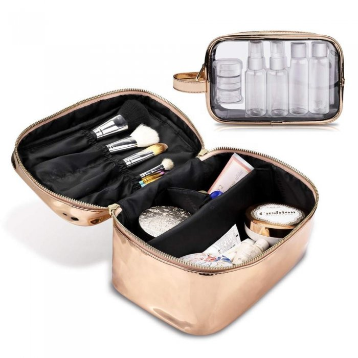 Wholesale-gold-Large-Cosmetic-BagClear-wash-bag-Set-COS103-2