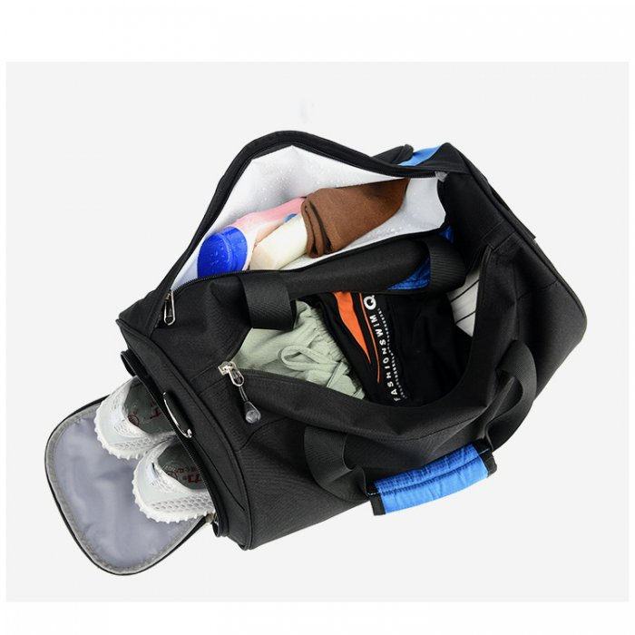 Lightweight-water-resistant-black-polyester-travel-sport-duffle-bags-DB005-2