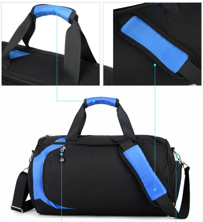Lightweight-water-resistant-black-polyester-travel-sport-duffle-bags-DB005-3