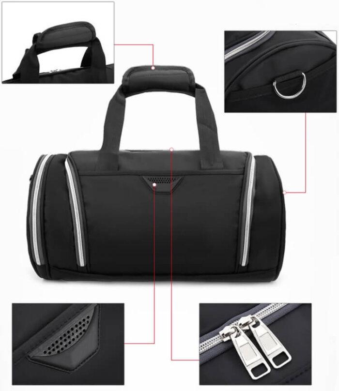 Lightweight-waterproof-weekend-black-fitness-sports-duffel-bag-DB007-5